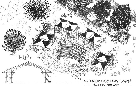 OLD NEW EARTHDAY TOWN 古くて新しい明日の町 イラスト